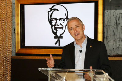 Jason Marker, KFC U.S. President, announces new Colonel, Billy Zane and a brand new Georgia Gold recipe at an event on Wednesday, Jan. 25, 2017 in New York. (Photo by Amy Sussman/Invision for KFC/AP Images)