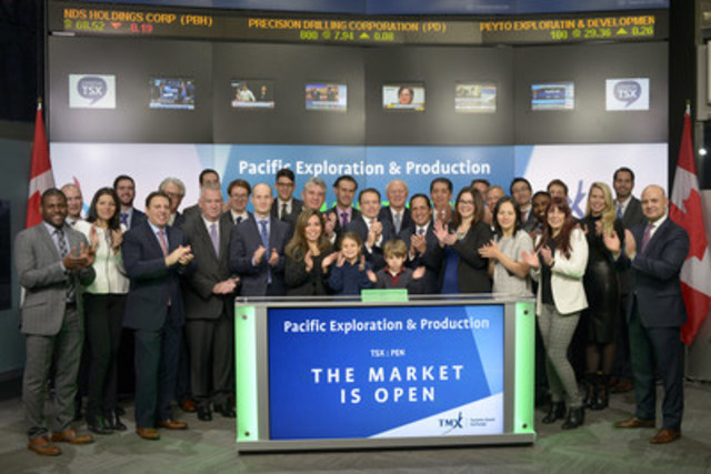 Gabriel de Alba, Chairman, Pacific Exploration & Production Corp. (PEN), joined Loui Anastasopoulos, President, TSX Trust and Managing Director, TSX Company Services, TMX Group to open the market. Pacific Exploration & Production Corp. is a Canadian explorer and producer of natural gas and crude oil, with operations focused in Latin America. The Company has a portfolio of assets with interests in more than 50 exploration and production blocks in various countries including Colombia, Peru, Guatemala, Guyana and Belize. Pacific Exploration & Production Corp. commenced trading on Toronto Stock Exchange on November 3, 2016 (CNW Group/TMX Group Limited)