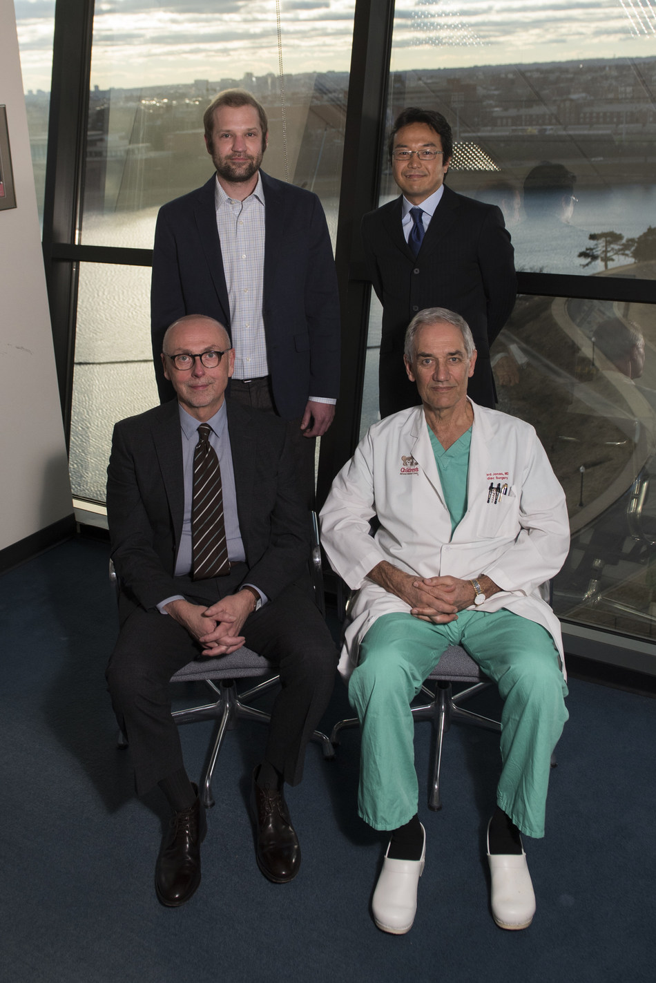 "From back to front, left to right, Paul D. Morton, Ph.D.; Nobuyuki Ishibashi, M.D.; Vittorio Gallo, Ph.D.; and Richard A. Jonas, M.D., Children's National Health System's Center for Neuroscience Research and Children's National Heart Institute, are lead and senior co-authors of ""Abnormal Neurogenesis and Cortical Growth in Congenital Heart Disease."""