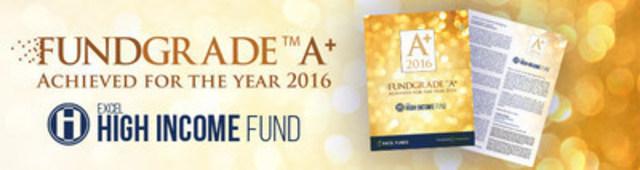 Le fonds de revenu élevé reçoit un trophée FundGrade A+. (Groupe CNW/Excel Funds Management Inc.)