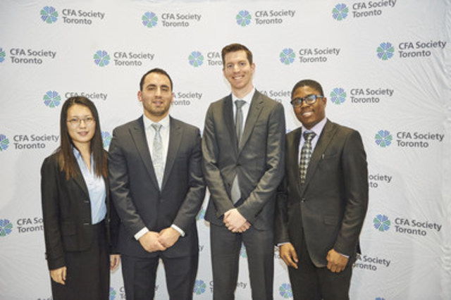 Left to Right: Weixuan Xue, Adam Prokop, Carter Smith, Lekan Akindele (CNW Group/CFA Society Toronto)