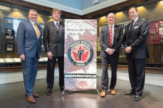 Peter MacKay joins Wounded Warriors Canada. (L-R) Vice-Chairman BGen (Ret'd) Julian Chapman, Board Chairman Richard Martin, Executive Director, Scott Maxwell, Peter MacKay). (CNW Group/Wounded Warriors Canada)