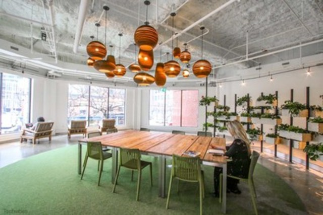 """The Plant: Scotiabank's Digital Factory's quiet zone – coined """"The Plant"""" is a quiet zone was designed for coding, research, writing, or thinking in a quiet space. It overlooks the Scotiabank branch on Princess Street. (CNW Group/Scotiabank)"""