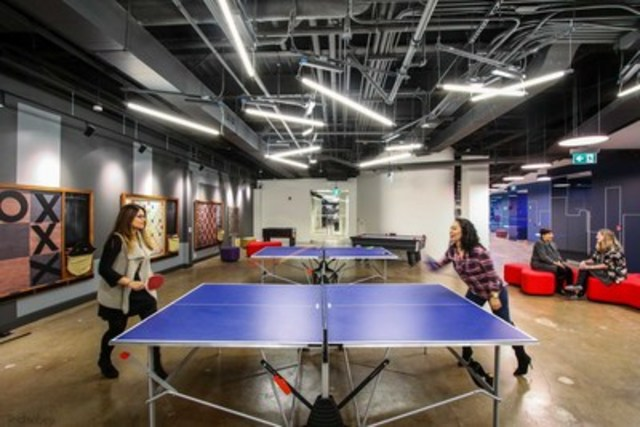 Team Collaboration Zone: Equipped with ping pong, air hockey tables and a bowling alley, this area was designed to help foster team building and collaboration among employees. (CNW Group/Scotiabank)