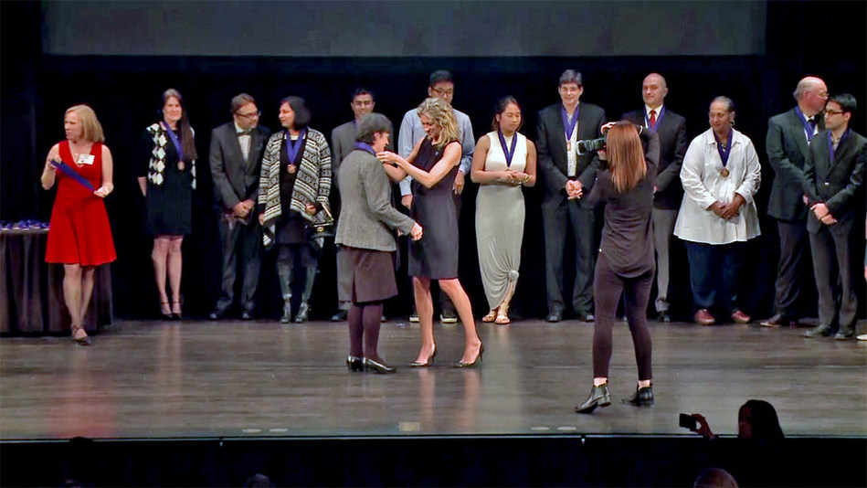 Recipients receive medals from Hilary Beard Schafer, Executive Director of the Jefferson Awards for Public Service at the Herbst Theater, January 25, 2017.
