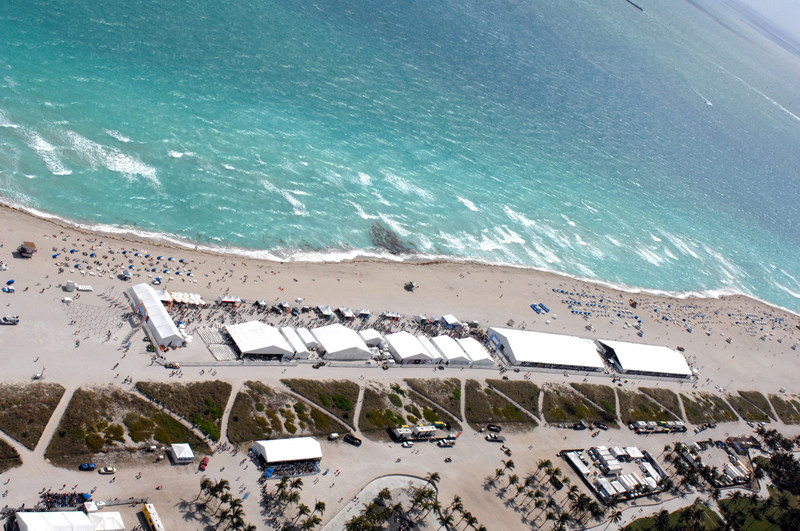 An aerial view of the Goya Foods' Grand Tasting Village featuring Mastercard Grand Tasting Tents & KitchenAid Culinary Demonstrations at the Food Network & Cooking Channel South Beach Wine & Food Festival.