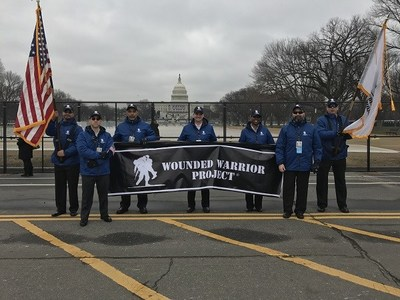 Wounded Warrior Project veterans prepare to march in the Inaugural Parade in Washington, DC