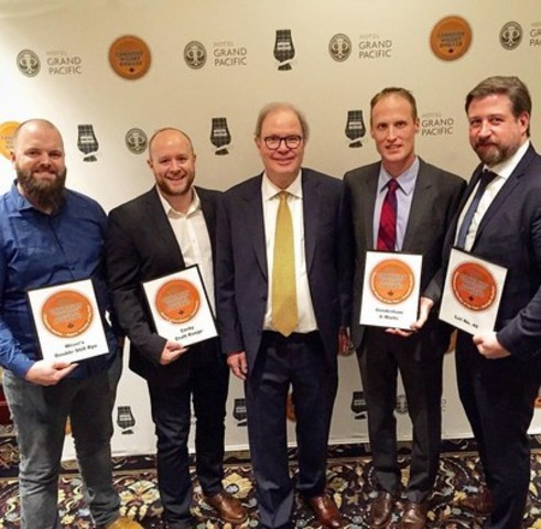 (Left to right) Colin MacDougall, J.P. Wiser's Brand Ambassador, Corby Spirit and Wine, Ross Hendry, Brand Director of Canadian Craft Whisky, Corby Spirit and Wine, Davin de Kergommeaux, Chairman of the Judges, Canadian Whisky Awards, Dr. Don Livermore, Master Blender, Hiram Walker & Sons, and Dave Mitton, Global Canadian Whisky Ambassador, Corby Spirit and Wine. (CNW Group/Corby Spirit and Wine Communications)