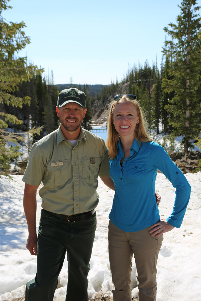 Darley Newman with U.S. Forest Service's Aaron Voos exploring the Snowy Range Scenic Byway in Wyoming's Medicine Bow National Forest.