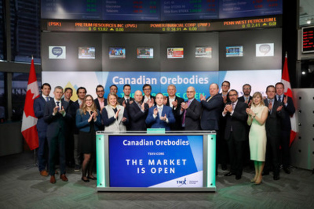 Gordon McKinnon, President & CEO, Canadian Orebodies Inc. (CORE), joined Tim Babcock, Director, Listed Issuer Services, TSX Venture Exchange to open the market. Canadian Orebodies Inc. is a junior natural resource exploration and development company with a portfolio of mineral properties located in Ontario and Nunavut. The Company is currently focused on its prospective land package near Hemlo, Ontario. Canadian Orebodies Inc. commenced trading on TSX Venture Exchange on January 26, 2017. (CNW Group/TMX Group Limited)