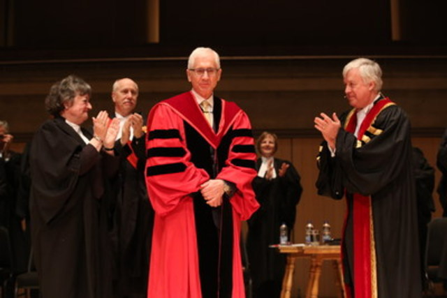 Thomas G. Heintzman, O.C., Q.C. (centre), is congratulated upon receiving an honorary LLD from the Law Society of Upper Canada at its January 27 Call to the Bar ceremony in Toronto. At right is Law Society Treasurer Paul B. Schabas, and at left is former Treasurer Janet E. Minor and The Honourable Justice David G. Stinson of the Superior Court of Justice of Ontario. Heintzman received the honorary Doctor of Laws degree in recognition of his immense contribution to the legal profession and the administration of justice in Canada, as a lawyer, educator, author and extraordinary mediator. (CNW Group/The Law Society of Upper Canada)