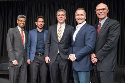 From left: Vijay Chauhan, GlobalSTL lead, BioSTL; Guy Weitzman, CEO, Atomation; Donn Rubin, president and CEO, BioSTL; Missouri Governor Eric Greitens and Warner Baxter, chairman, president and CEO, Ameren Corporation.