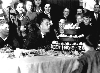 In 1933, newly-elected president Franklin D. Roosevelt celebrates his birthday on January 30. FDR, who personally battled polio, also created the March of Dimes to help millions of others. His commitment to the nation and children's health echoes in the work of the March of Dimes today. New March of Dimes president Stacey D. Stewart is following FDR's example while setting a new path in addressing today's biggest health threats to moms and babies. (Photo courtesy March of Dimes)