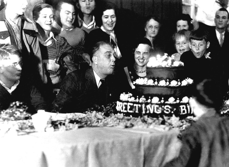 In 1933, newly-elected president Franklin D. Roosevelt celebrates his birthday on January 30. FDR, who personally battled polio, also created the March of Dimes to help millions of others. His commitment to the nation and children's health echoes in the work of the March of Dimes today. New March of Dimes president Stacey D. Stewart is following FDR's example while setting a new path in addressing today's biggest health threats to moms and babies. (Photo courtesy March of Dimes) (PRNewsFoto/March of Dimes)