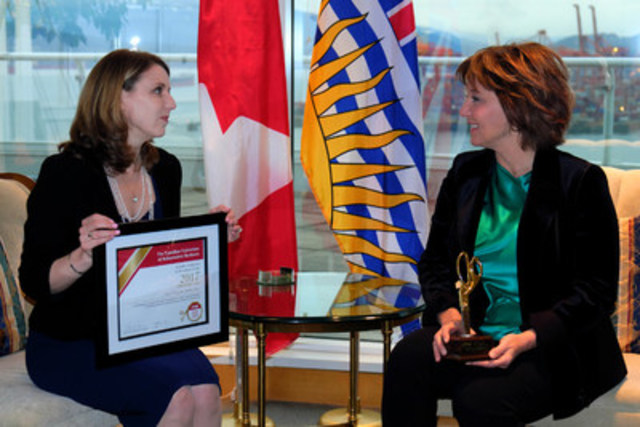 Laura Jones, vice-présidente exécutive de la FCEI (à gauche) remet le prix Coupe-paperasse d'or 2017 à Christy Clark, première ministre de la Colombie-Britannique (à droite). (Groupe CNW/Fédération canadienne de l'entreprise indépendante)