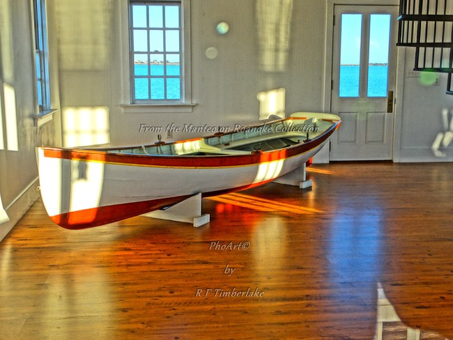 Peeping in the Manteo Lighthouse Window is exactly what R F Timberlake did, capturing this exquisite handmade wooden boat. Though he could not reach it or go inside, he made the photo and created a digital delight that still remains one of his most popular prints.