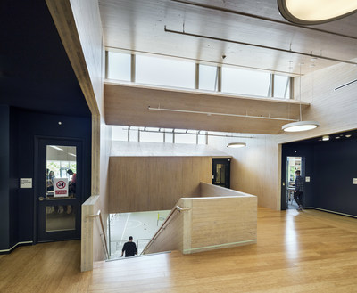 Common Ground High School in New Haven, Connecticut used mass timber because of its capacity to sequester carbon over the building's lifetime. (Photo credit: David Sundberg/ESTO)
