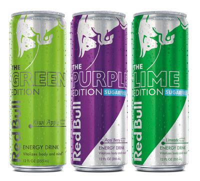 Red Bull esta expandiendo la exitosa linea Red Bull Editions con Red Bull Green Edition, Red Bull Purple Edition Sugarfree y Red Bull Lime Edition Sugarfree brindando las alas de Red Bull con el sabor de kiwi manzana, baya de açai y limonada, respectivamente. Las Red Bull Editions se distinguen por su sabor y su variedad, ofreciendo una opcion deliciosa para cada paladar, ya sea que se este disfrutando la categoria por primera vez como si ya se bebe Red Bull mientras se trabaja, se estudia, se viaja, se hace ejercicio o se resuelven las exigencias diarias de la vida cotidiana.