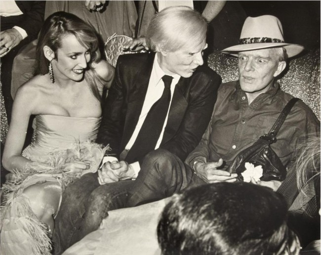 Richard P. Manning (American, 1941-2013) gelatin silver print of Jerry Hall, Andy Warhol and Truman Capote at Studio 54. Photo copyright Estate of Richard P. Manning/image to be sold without copyright. Estimate: $400-$800