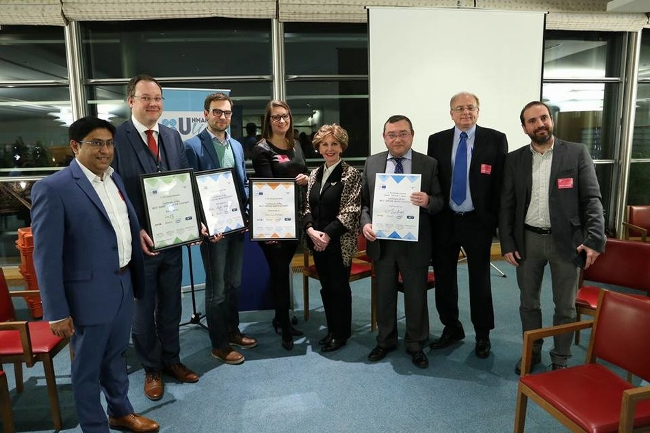 Winners at the EU Drone Awards in Brussels, Belgium.