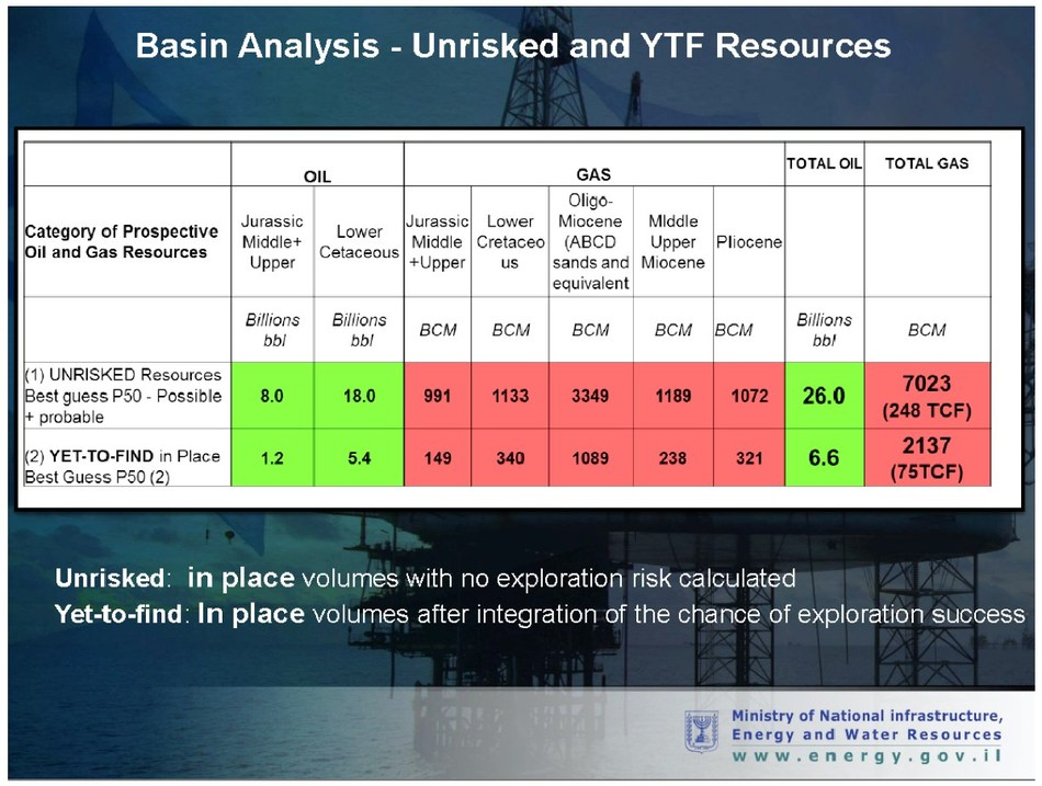 Independent study analysis by Beicip-Franlab prepared for Israel's Energy Ministry.