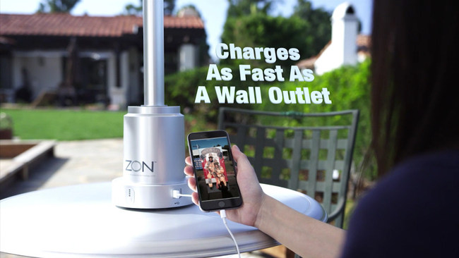 ZON Powersol, solar battery hub, charges mobile devices as fast as a wall outlet day or night.