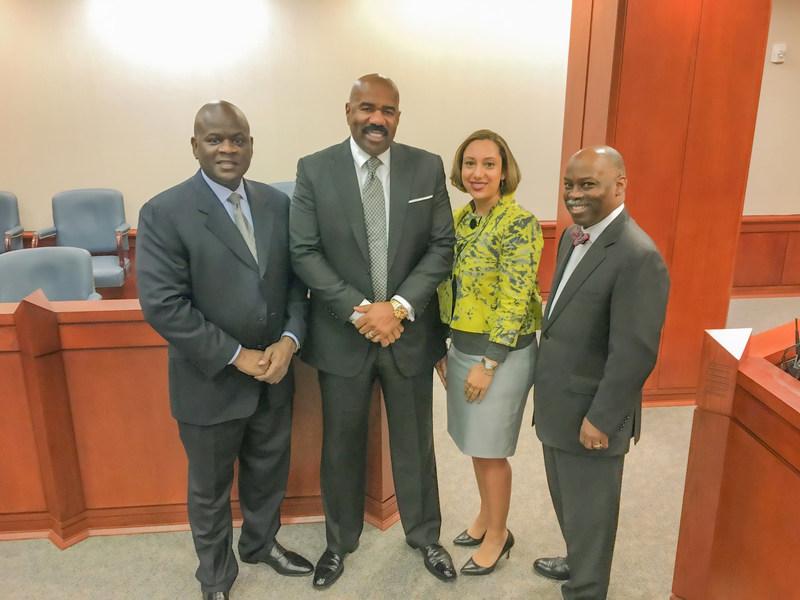 "Steve Harvey Trial Team (l-r) Lead counsel Aubrey ""Nick"" Pittman, Steve Harvey, attorney Ashlei Gradney, and co-counsel Wendle Van Smith."