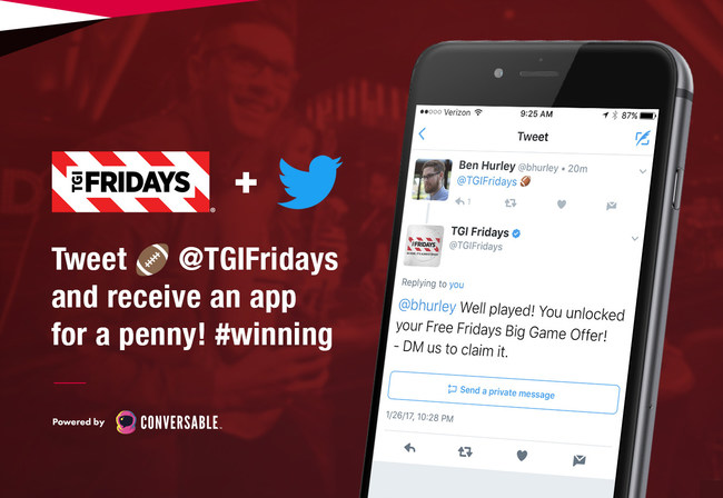 Football fans who Tweet a football emoji at @TGIFridays on Sunday will receive a carryout appetizer for a penny.