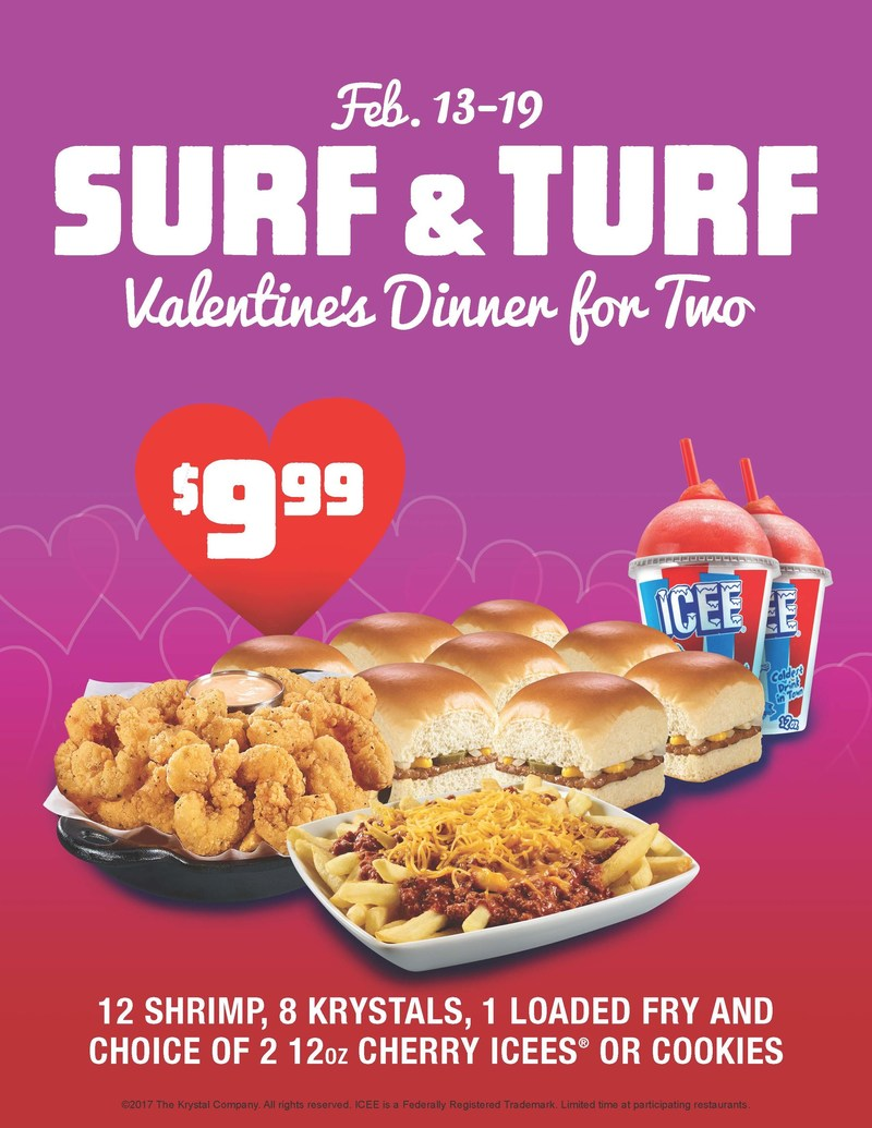 Romance doesn't need a reservation at Krystal this Valentine's Day. Krystal guests can enjoy eight Krystals, a dozen fried shrimp, fries, and a delicious dessert all for $9.99.