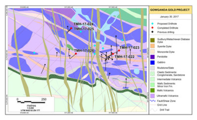Figure 1. Work Location Sketch and Geological Interpretation – Haultain Discovery Area, Gowganda Gold Project, Ontario (CNW Group/Transition Metals Corp.)