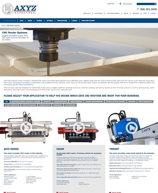 AXYZ provide visitors with a snapshot of each CNC router and the core benefits, making product research quick and easy