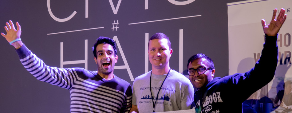 Excited Winners of #ExpeditionHacks NYC, November 2016