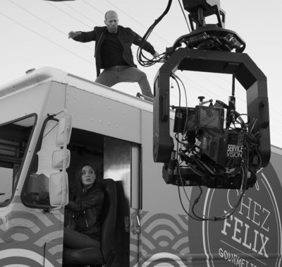 Gal Gadot and Jason Statham in action behind the scenes of Wix Super Bowl LI #DisruptiveWorld Campaign
