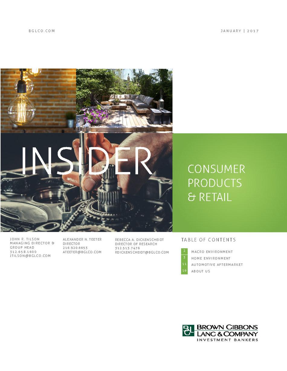 BGL Consumer Products & Retail Insider - Portfolio Honing Ignites M&A