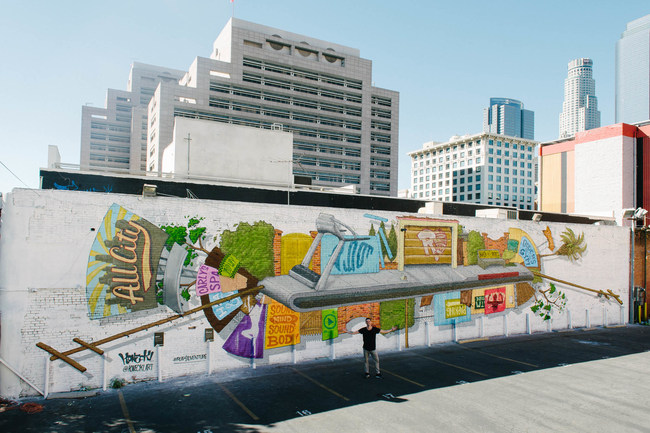To celebrate the urban running culture in Los Angeles, ASICS commissioned local street artist Christopher Konecki to create an original mural.  The mural, located at 247 South Main Street, will remain in the neighborhood for the remainder of the year.