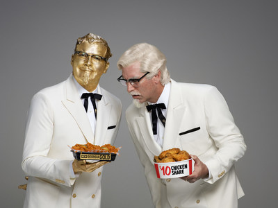 The new Georgia Gold Colonel -  Billy Zane and the Kentucky Buckets Colonel - Rob Riggle duel during the KFC Super Bowl LI commercial.