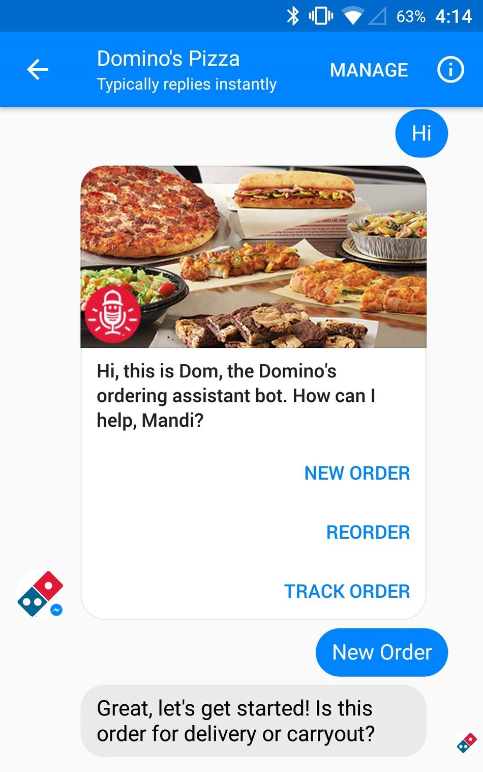 Customers can now place any order for any menu item they'd like on Facebook Messenger, just in time for Feb. 5 - one of Domino's busiest delivery days of the year. Domino's is the first national pizza chain to have full ordering capabilities on Messenger.