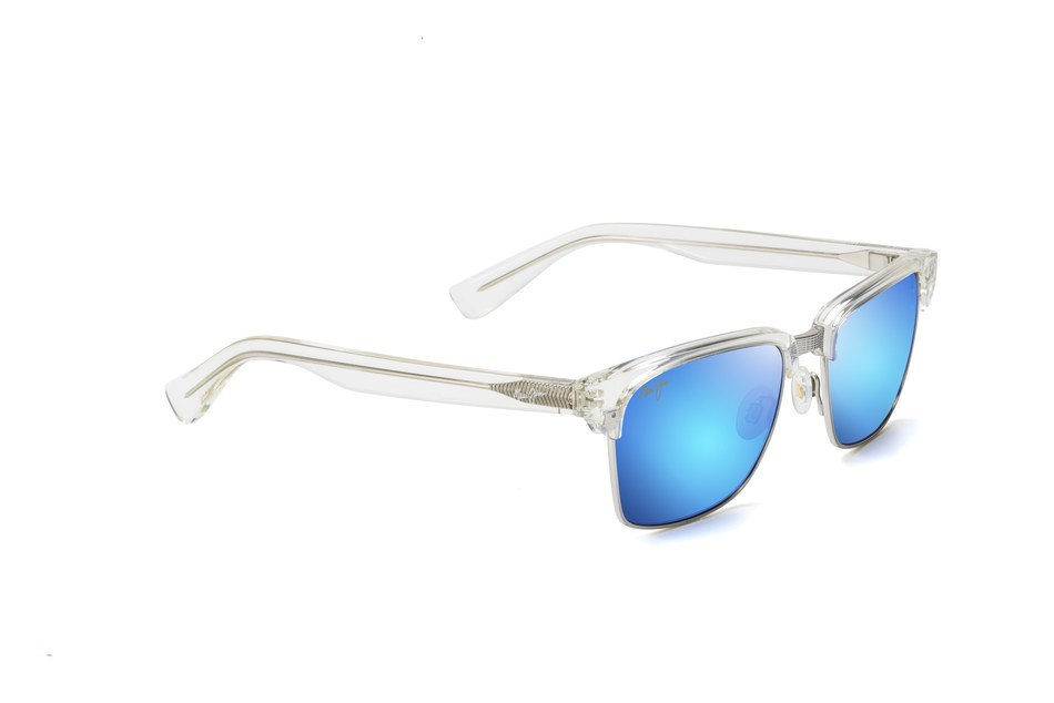 Maui Jim Kawika shown in Crystal with Blue Hawaii lenses.
