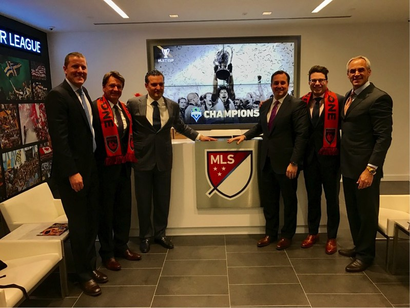 Leaders from Phoenix Rising FC visited MLS executives in New York City on Friday January 20, 2017.  (Pictured from left to right are: Phoenix Rising FC Co-Chairman Brett Johnson, Head Coach and President of Soccer Operations Frank Yallop, Governor Berke Bakay, Co-Owner and Board Member Mark Detmer, Co-Owner and Board Member David Rappaport, and Co-Owner and Board Member Tim Riester.)