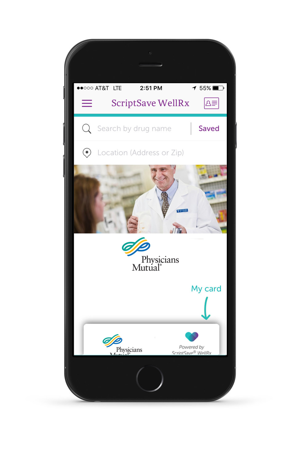 Physicians Mutual app powered by ScriptSave WellRx
