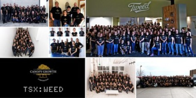 The Canopy Growth team marks milestone day with a class photo. Here's to Future Growth. (CNW Group/Canopy Growth Corporation)