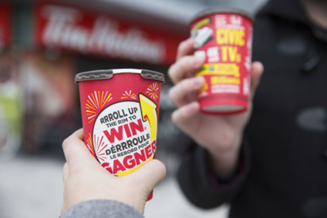 Today, guests are celebrating the return of Tim Hortons RRRoll Up the Rim with more than 49 million prizes to be won. (CNW Group/Tim Hortons)