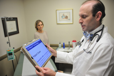 Dr. Abraham Schwarzberg, MD, chief of oncology at Jupiter Medical Center in Palm Beach County, Florida, reviews recommendations generated by IBM Watson for Oncology.