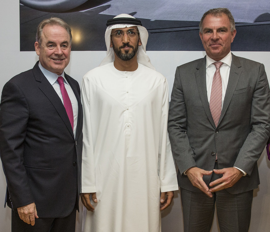 James Hogan, Etihad Aviation Group President and Chief Executive Officer; H.E. Mohamed Mubarak Fadhel Al Mazrouei, Chairman of the Board of the Etihad Aviation Group; and Carsten Spohr, Lufthansa Group Chairman and Chief Executive Officer, are seen at the signing of the new collaboration agreement at a press conference in Abu Dhabi today.