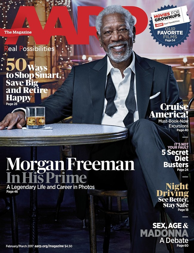Morgan Freeman on the Cover of AARP The Magazine's February/March Issue