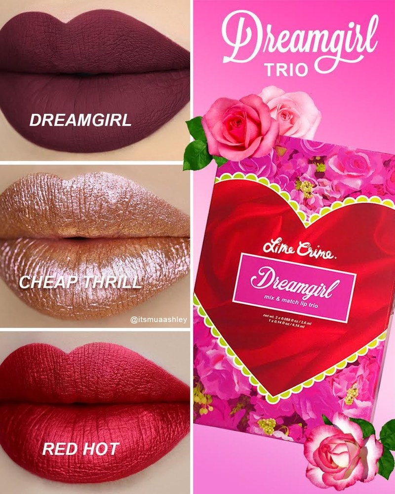 The DREAMGIRL Lip Trio includes the Dreamgirl Velvetine, juicy cranberry; the Red Hot Metallic Velvetine, metallic cherry red; and the Cheap Thrill Diamond Crusher, sunset/rose shift sparkling lip topper.