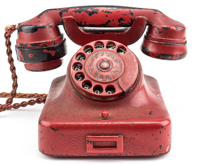 Adolf Hitler's personal telephone, recovered in his Berlin bunker. It was given by Soviet officers to a British brigadier as a gift. To be sold at auction on Feb. 19, 2017 by Alexander Historical Auctions.