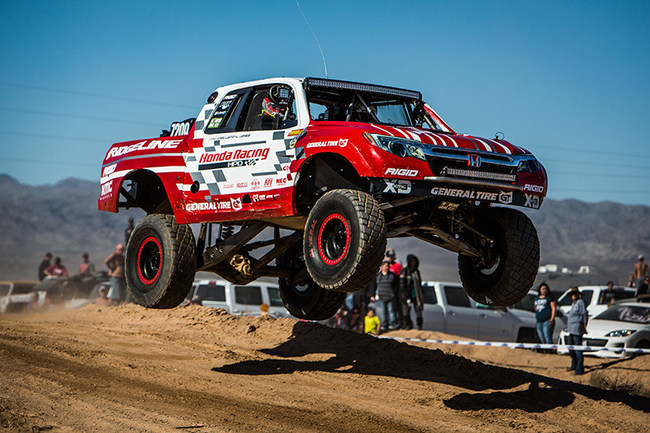 Jeff Proctor's Honda Ridgeline launches leaps jump at Parker 425  Photo Credit: Bink Designs