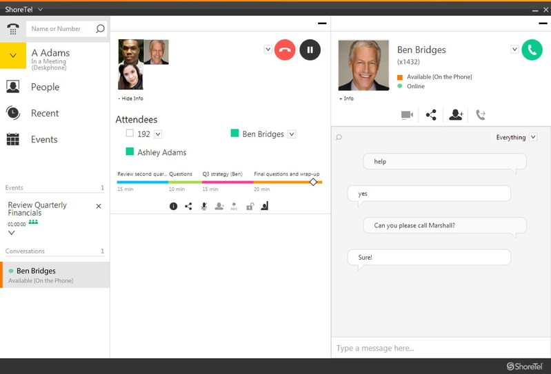 The ShoreTel Connect CLOUD user interface provides controls in one easy to use place.