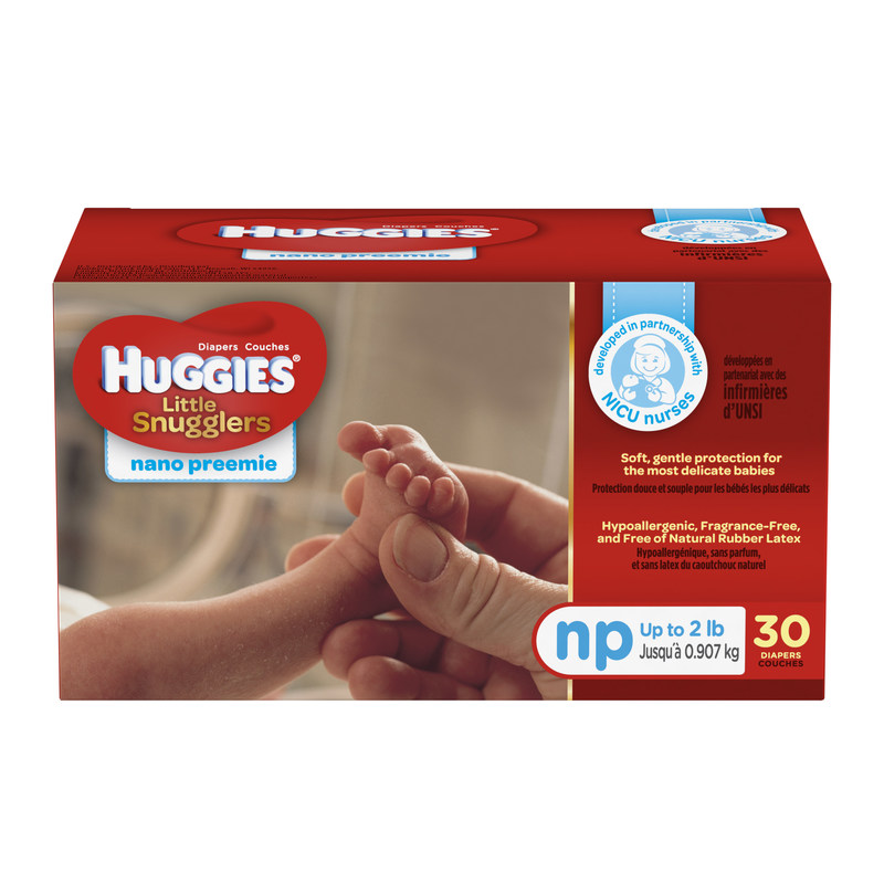 The New Huggies Little Snugglers Nano Preemie Diaper was developed in close partnership with NICU nurses and Neonatal Therapists.